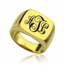 Custom 18ct Gold Plated Monogram Signet Ring