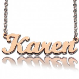 18ct Rose Gold Plated Karen Style Name Necklace