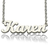 Solid 18ct White Gold Plated Karen Style Name Necklace