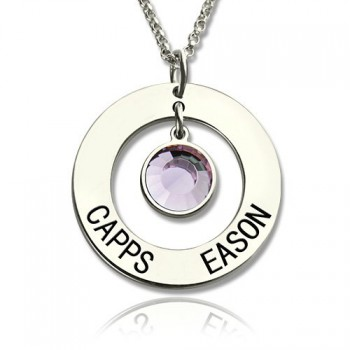 Personalised Circle Name Pendant With Birthstone Silver