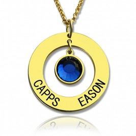 Personalised Circle Name Necklace With Birthstone 18ct Gold Plated Silver