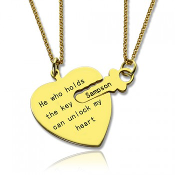 He Who Holds the Key Couple Necklaces Set 18ct Gold Plated