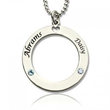 Engraved Circle of Love Name Necklace with Birthstone Silver