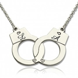 Handcuff Necklace For Couple Sterling Silver