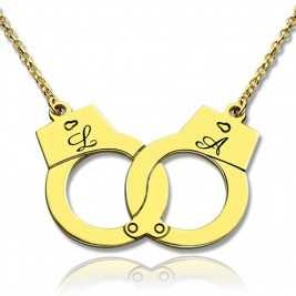 Personalised Handcuff Necklace 18ct Gold Plated