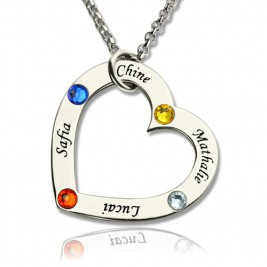 Mother Heart Necklace with Name  Birthstone Sterling Silver