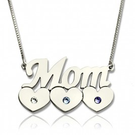 Mother Necklace With Children Birthstone Silver