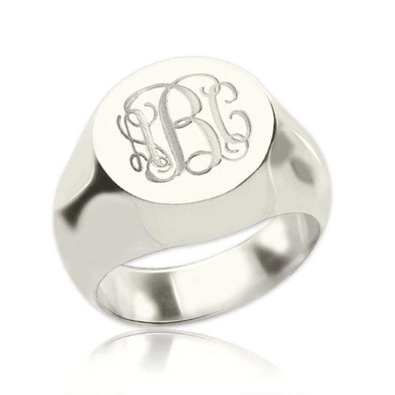 Signet Ring Sterling Silver Engraved Monogram
