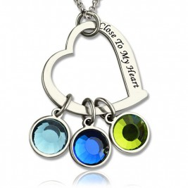 Open Heart Promise Phrase Necklace with Birthstone