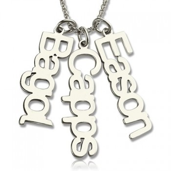 Customised Vertical Multi Names Necklace Sterling Silver