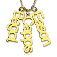 Customised Vertical Multiable Names Necklace 18ct Gold Plated