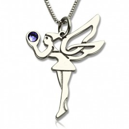 Personalised Fairy Birthstone Necklace for Girls Sterling Silver