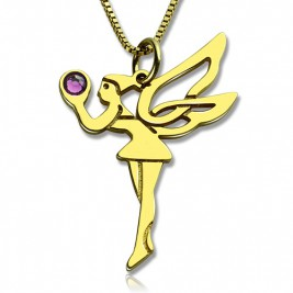 Fairy Birthstone Necklace for Girlfriend 18ct Gold Plated Silver 925