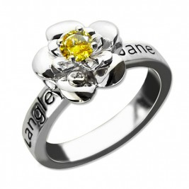 Promise Rose Ring Engraved Name  Birthstone Sterling Silver