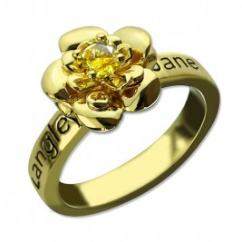 Promise Rose Ring for Her with Birthstone 18ct Gold Plated