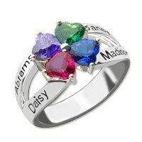 Personalised Mothers Name Ring with Birthstone Sterling Silver