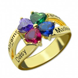 Family Ring for Mom Four Clover Hearts in 18ct Gold Plated