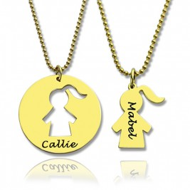Mother and Child Necklace Set with Name 18ct Gold Plated