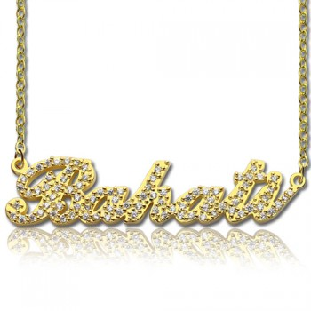18ct Gold Plated Full Birthstone Carrie Name Necklace