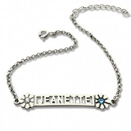 Personalised ID Birthstone Name Bracelet For Teens