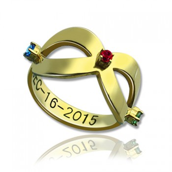 18ct Gold Plated Engraved Infinity Birthstone Ring