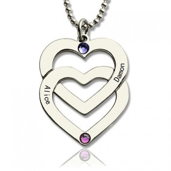 Personalised Double Heart Necklace Engraved Name Sterling Silver
