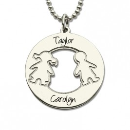 Circle Necklace With Engraved Children Name Charms Sterling Silver