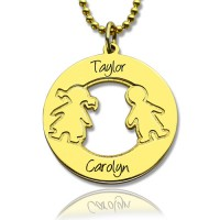 Circle Necklace Engraved Children Name Charms 18ct Gold Plated Silver925
