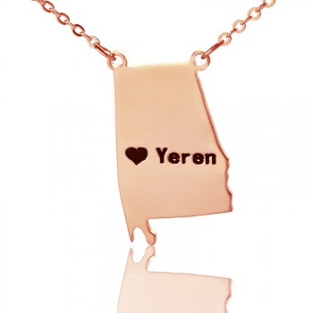 Custom Alabama State USA Map Necklace With Heart  Name Rose Gold