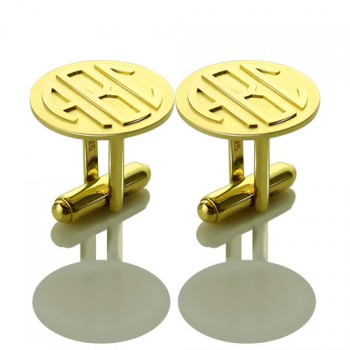 Cool Mens Cufflinks with Monogram Initial 18ct Gold Plated