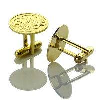 Engraved Cufflinks with Monogram 18ct Gold Plated