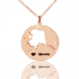 Custom Alaska Disc State Necklaces With Heart  Name Rose Gold
