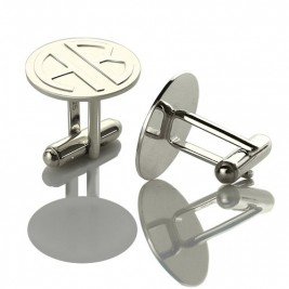 Cufflinks for Men Block Monogrammed Sterling Silver