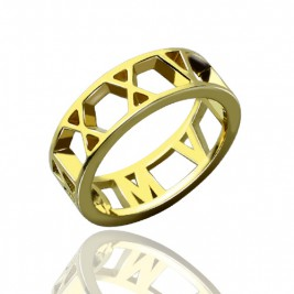 Roman Numeral Date Jewellery Rings 18ct Gold Plated