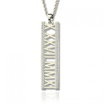 Roman Numeral Vertical Necklace With Birthstones Sterling Silver