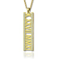18ct Gold Plated Roman Numeral Necklace With Birthstone