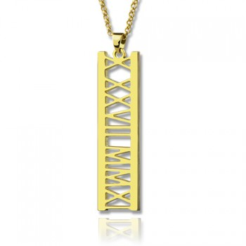 Vetical Roman Bar Necklace 18ct Gold Plated
