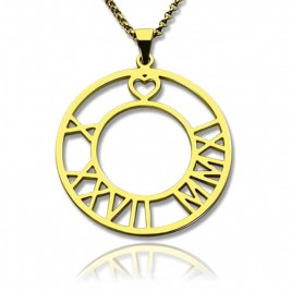 18ct Gold Plated Roman Numeral Disc Necklace
