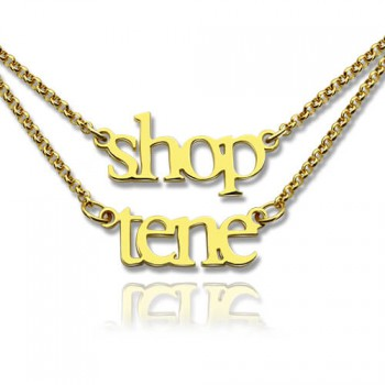 Double Layer Mini Name Necklace 18ct Gold Plated
