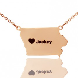 Iowa State USA Map Necklace With Heart  Name Rose Gold