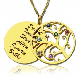 18ct Gold Plated Family Tree Birthstone Name Necklace