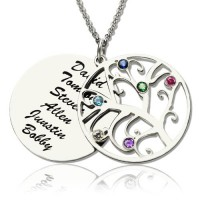 Family Tree Pendant Necklace With Birthstone Silver