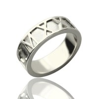 Personalised Roman Numerals Band Ring Sterling Silver