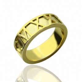 18ct Gold Plated Roman Numeral Date Rings