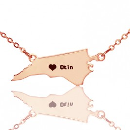 Personalised NC State USA Map Necklace With Heart  Name Rose Gold