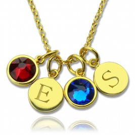 Custom Double Discs Initial Necklace with Birthstones In Gold