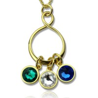 Personalised Family Infinity Necklace with Birthstones 18ct Gold Plate