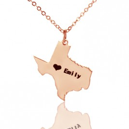 Texas State USA Map Necklace With Heart  Name Rose Gold