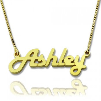 Retro Stylish Name Necklace 18ct Gold Plated