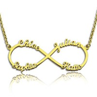 Custom 18ct Gold Plated Infinity Necklace 4 Names